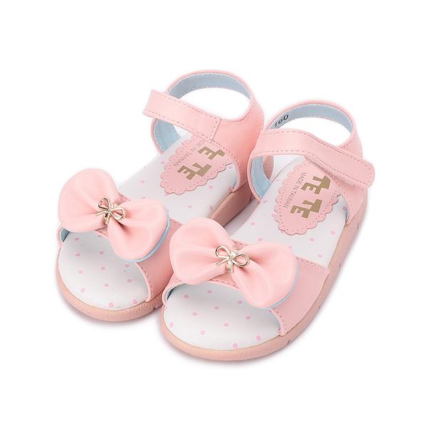 TE TE 雙蝴蝶結涼鞋 粉 中童鞋