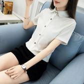 小清新娃娃領短袖白襯衫女裝新品韓版百搭寬鬆簡約休閑職業襯衣   瑪奇哈朵