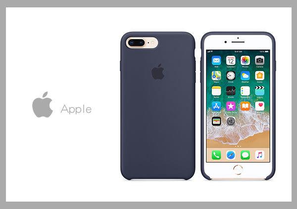 【拆封新品】Apple 原廠 iPhone 8 Plus / 7 Plus case 適用 矽膠保護殼-午夜藍