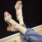 港味涼鞋新款女夏季露趾一字扣帶韓版羅馬鞋百搭粗跟高跟鞋潮