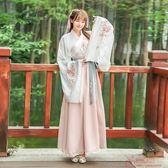 傳統漢服繡花大袖交領齊腰襦裙日常復古套 「爆米花」