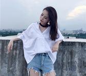 韓版襯衫女掛脖bf學生百搭寬松顯瘦上衣蝙蝠袖白色V領襯衣