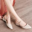 包鞋包頭涼鞋羅馬大東她涼鞋女2020新款包頭一鞋兩穿半拖女外穿方頭中粗跟單鞋 快速出貨