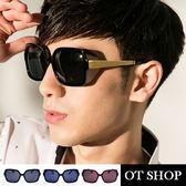 OT SHOP太陽眼鏡‧簡約款方型‧抗UV400太陽眼鏡‧中性金屬腳架造型‧亮黑‧霧黑‧茶色‧現貨‧L10