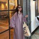 Qmigirl 韓版寬鬆口袋連帽長袖T恤連身裙【T825】