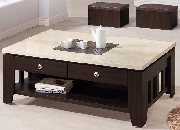 【南洋風休閒傢俱】時尚茶几系列-胡桃色仿石面大茶几(含凳) 咖啡桌 沙發桌 SB678-2