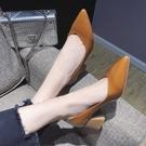 尖頭高跟鞋韓版時尚淺口單鞋女2020秋季新款簡約套腳百搭粗跟女鞋「時尚彩紅屋」