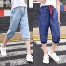 女童牛仔褲 女童七分褲子夏季兒童天絲牛仔褲薄款休閒褲寬鬆大童中褲-Ballet朵朵