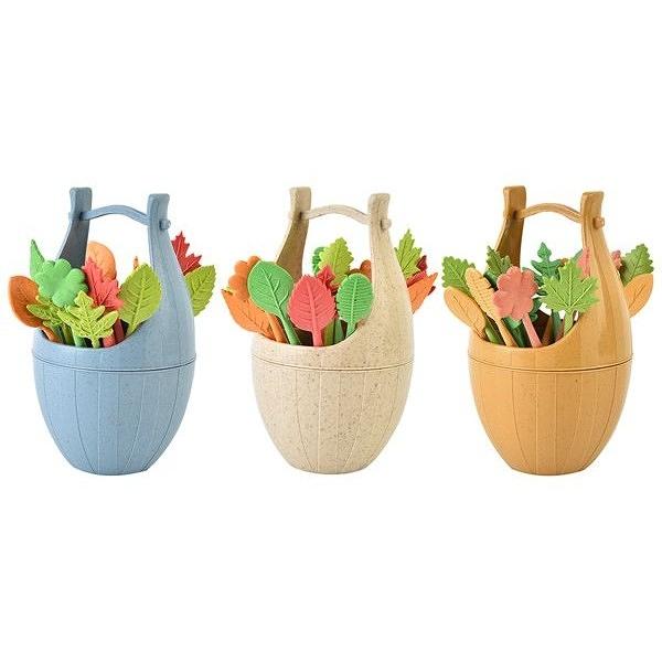 小麥秸稈樹葉造型木桶水果叉套組(16支入) 顏色隨機出貨【小三美日】