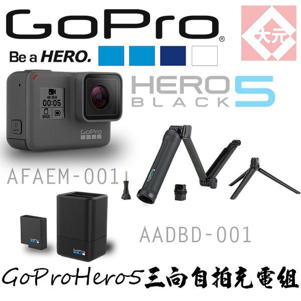 *大元 全省*【24期0利率 64G+雙電池充電器+電池 +原廠三向自拍桿】GOPRO HERO 5 黑色版 攝影機 公司貨
