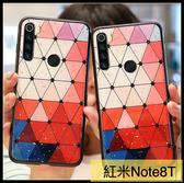 【萌萌噠】Xiaomi 紅米 Note8T 滴膠閃粉奢華款 三角菱格保護殼 全包矽膠軟殼 手機殼 手機套