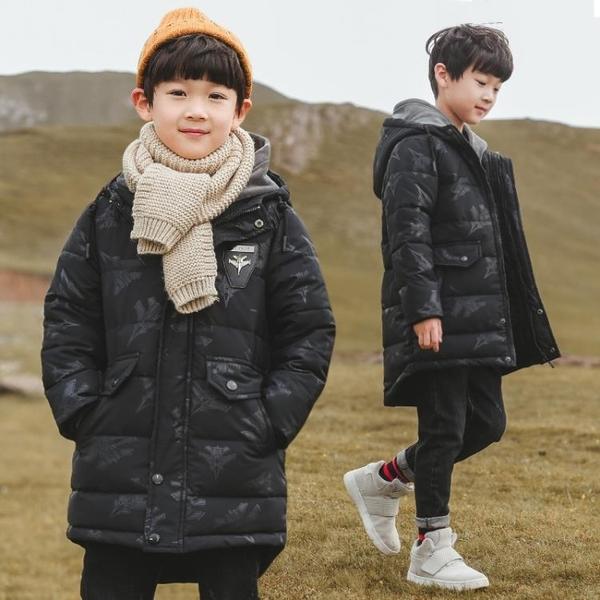 7Plus羽絨外套男孩 中長款秋冬男寶寶棉衣 中大童韓版外套 迷彩兒童加絨加厚夾克外套