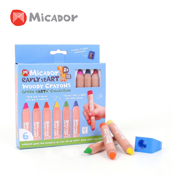 Micador 澳洲 不粘手木管六色蠟筆