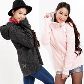 女禦寒保暖連帽中長版外套 柔暖內細絨修身 歐規加大碼(C181204 粉紅/灰黑/米白) 戶外趣