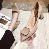 高跟鞋 粗跟方扣單鞋女春秋2020新款韓版時尚百搭仙女尖頭法式少女高跟鞋 茱莉亞