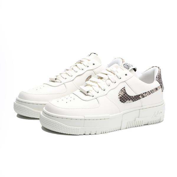 NIKE 休閒鞋 AIR FORCE 1 AF1 白 蛇紋 皮革 麂皮LOGO 男女 (布魯克林) CV8481-101