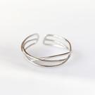 925純銀 三線交叉編織 C型可調整戒指...