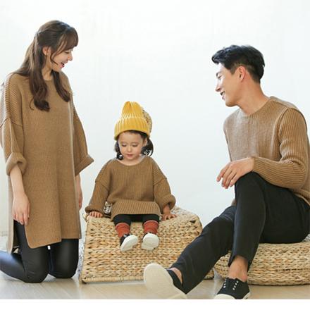 韓版駝色開岔保暖針織毛衣長袖上衣親子裝(男大人)