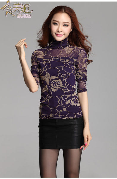 衣美姬?韓版玫瑰花高領上衣 網紗修身長袖性感上衣 大碼百搭造型女T恤