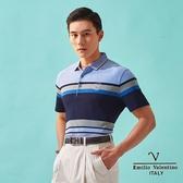 【Emilio Valentino】范倫鐵諾學士風絲光棉polo衫 - 藍