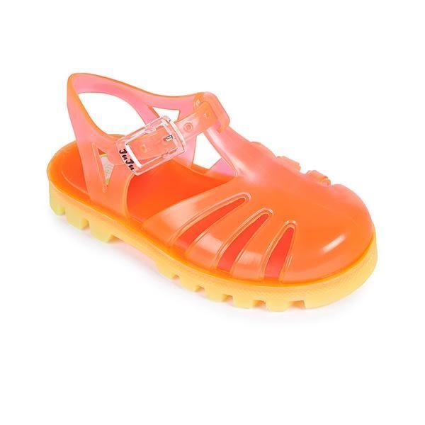 英國 Project Jelly JUJU果凍涼鞋/兒童涼鞋-粉膚x亮黃 (13-21cm)