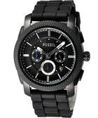 FOSSIL 星際時空三環運動腕錶/手錶-黑 FS4487
