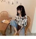 花襯衫 花襯衫女短袖復古polo衫夏少女感襯衣設計感小眾抽象印花上衣 交換禮物