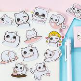 【BlueCat】大眼萌猫蝴蝶結項圈盒裝貼紙 手帳貼紙 (45入)