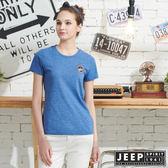 【JEEP】女裝極簡短袖T恤-藍色