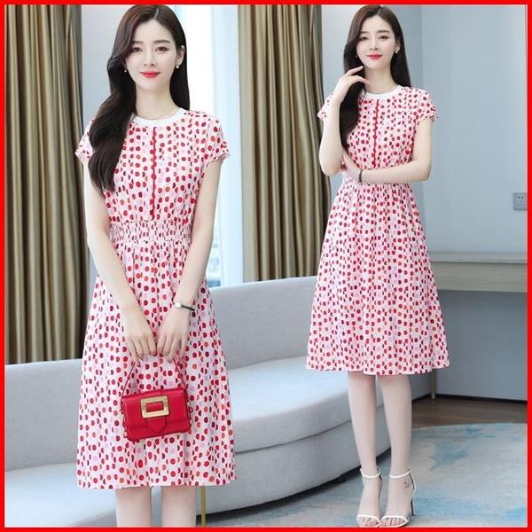 韓國風短袖洋裝 紅色波點連衣裙女收腰顯瘦氣質雪紡長款連身裙  依多多