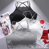 新款雙卡萊螺紋花邊美背裹胸吊帶背心女抹胸運動防走光文胸時尚型 618購物節
