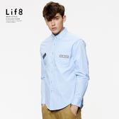 Casual 貼繡飾標 長袖襯衫-藍色【03883】