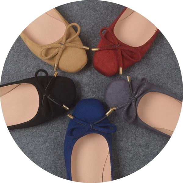 六月芬蘭方頭磨砂絨布素面蝴蝶結芭蕾舞鞋娃娃鞋平底鞋包鞋女鞋藍色(31-44大尺碼小尺碼)現貨