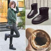 女短靴冬季皮面雪地靴女防水短筒保暖加絨短靴韓版靴子學生棉鞋 生活優品