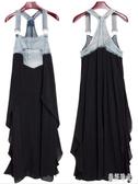 胖MM女裝 新款寬鬆加肥特大碼吊帶背心裙牛仔布拼接雪紡背帶連身裙 DR32402【美好時光】