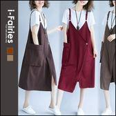 中大尺碼寬鬆顯瘦大口袋中長版棉質吊帶洋裝 連身裙★ifairies【68420】