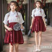 寫真改良漢服交領日常漢元素刺繡花中國古代民族風大學生班服套裝促銷大減價!