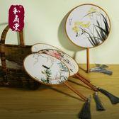 雙面紅櫸木團扇宮扇圓形女式扇子古典宮廷舞蹈扇復古風漢服扇