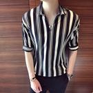 網紅條紋短袖t恤男五分袖寬鬆潮流5分半袖襯衫領上衣服男小衫潮牌 店慶降價