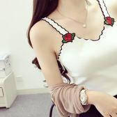 夏季新款甜美女裝刺繡玫瑰波浪邊V領針織吊帶小背心女短款打底衫 父親節禮物