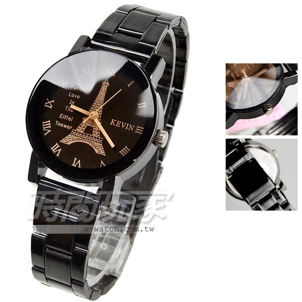 KEVIN 簡單羅馬時刻 鐵塔時尚腕錶 IP黑電鍍 立體多角切割鏡面 女款 學院風 KV20鐵塔羅小B