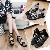 夏季涼鞋女百搭羅馬潮流夏天鞋子女生平跟新款休閒鞋平底學生涼鞋