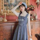 燈芯背帶裙女季日系學生收腰顯瘦洋裝高領針織衫兩件套