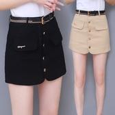 短褲裙女夏季2020新款高腰顯瘦牛仔裙褲子韓版假兩件包臀黑色春秋新品上新