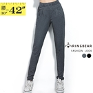 九分褲--歐美風鬆緊腰間裝飾車褶雙口袋純棉窄管褲/鉛筆褲(黑.灰XL-4L)-P127眼圈熊中大尺碼