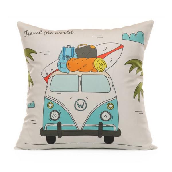 【BlueCat】巴士世界旅行系列短毛絨抱枕腰枕套 枕頭套