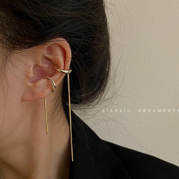 耳骨夾 韓國氣質冷淡風復古金屬耳夾簡約時尚耳骨夾無耳洞女長款耳線耳鏈