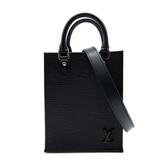 【台中米蘭站】全新品 Louis Vuitton PETIT SAC PLATA 琴譜手提斜背二用包-Mini(M69441-黑)