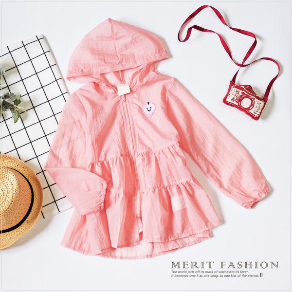 可愛粉嫩輕薄蛋糕連帽外套 防曬 連帽 薄款 夏天 蛋糕 長版 韓版 女童 甜美 哎北比童裝