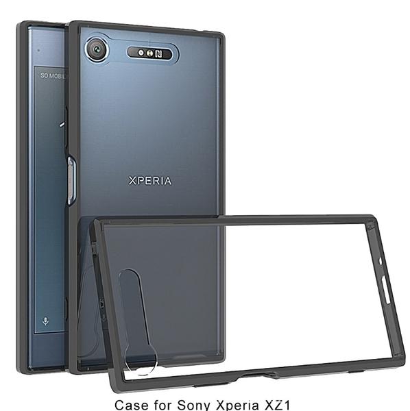 King*Shop~ 透明鎧甲索尼Xperia XZ1  G8342 5.2吋晶透亞克力 TPU邊框歐美熱銷防摔透明殼